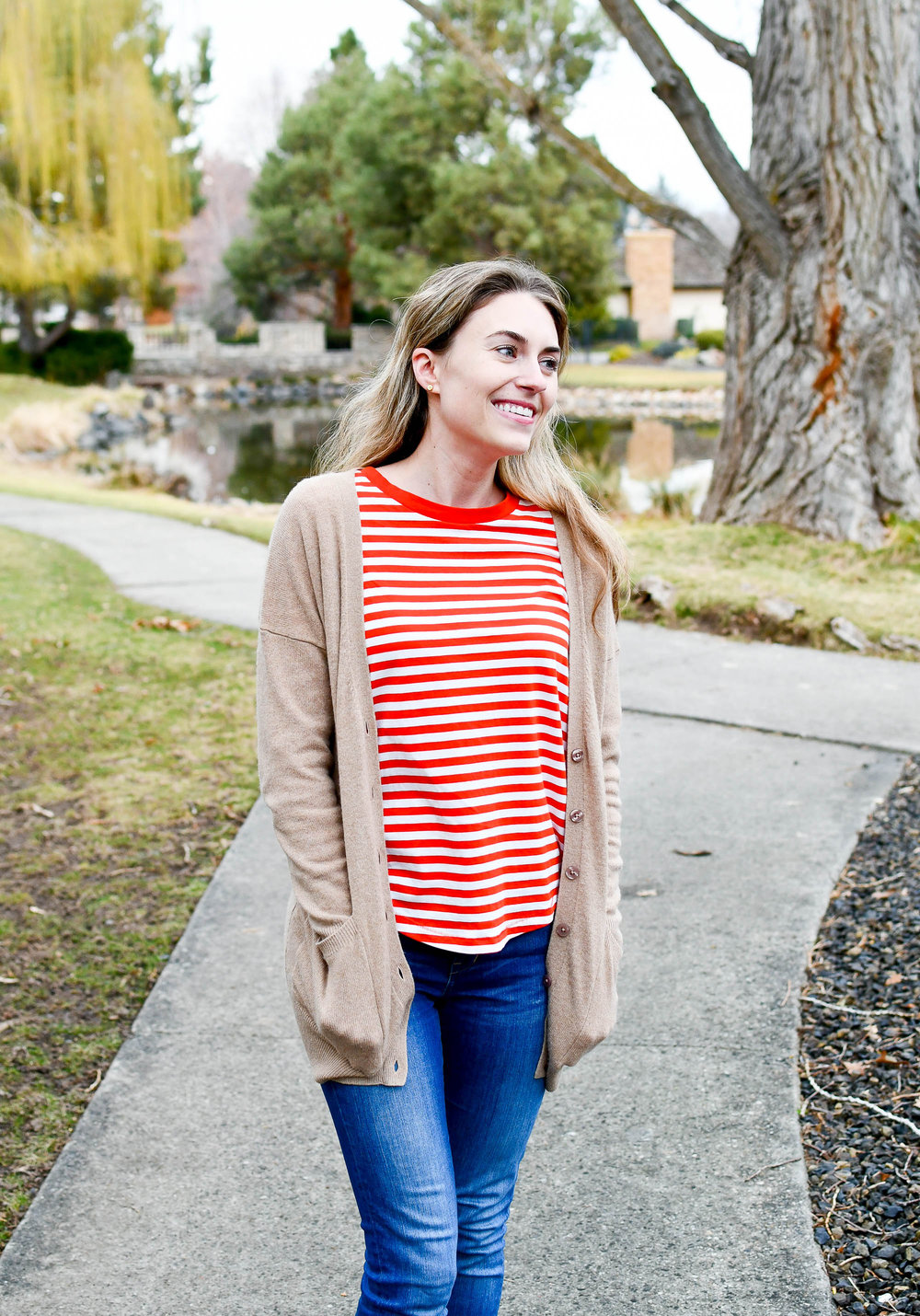 Winter outfit with red striped tee — Cotton Cashmere Cat Hair
