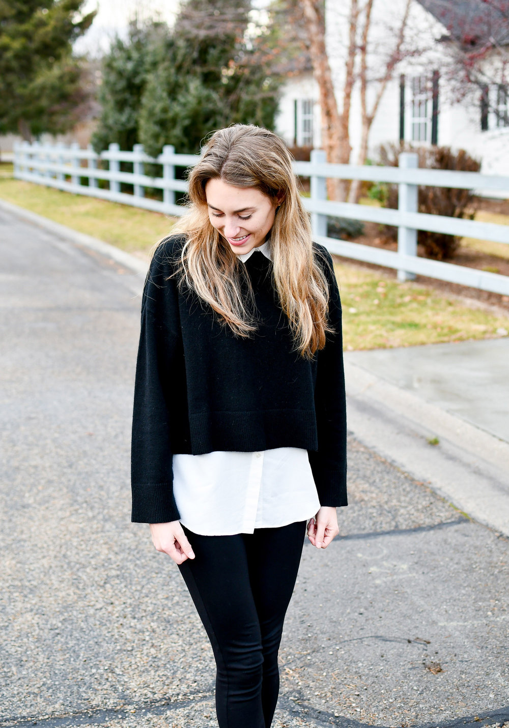 Black cropped cashmere sweater outfit — Cotton Cashmere Cat Hair