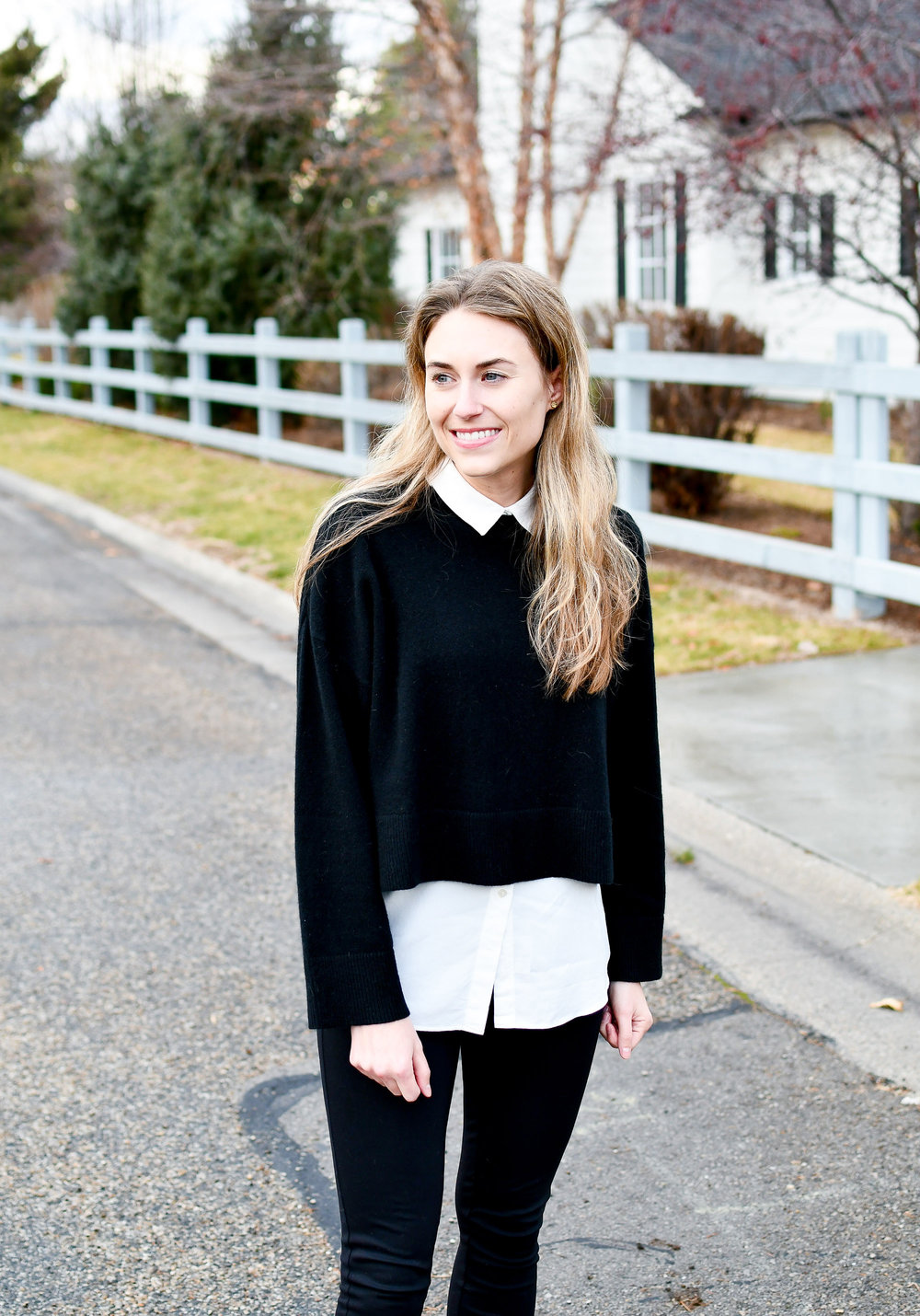 Black sweater layered over white blouse — Cotton Cashmere Cat Hair