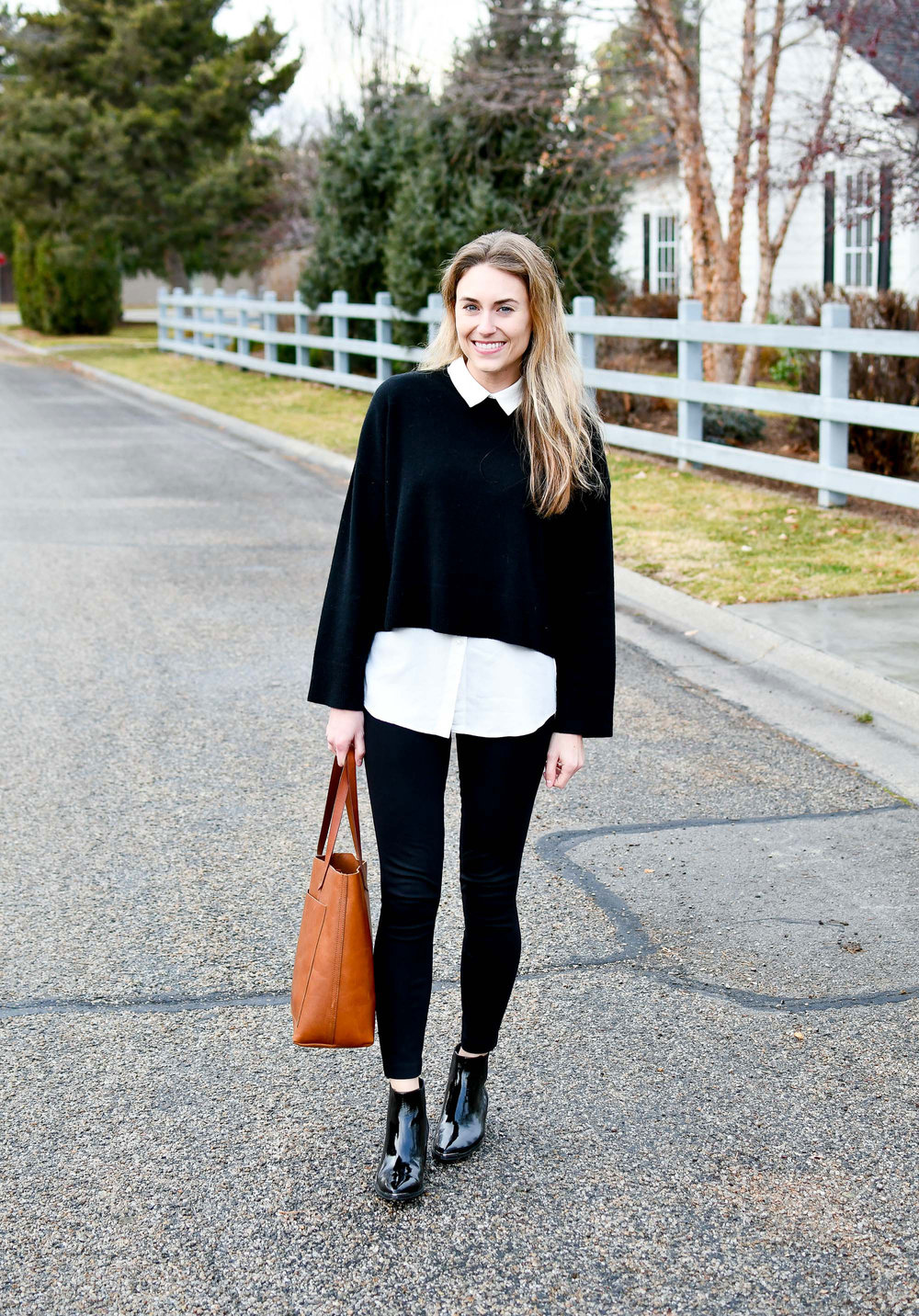 Madewell medium transport tote winter outfit — Cotton Cashmere Cat Hair