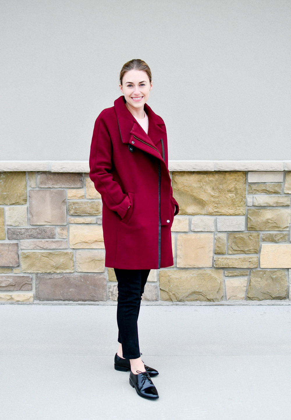Winter outfit with burgundy coat and black oxfords — Cotton Cashmere Cat Hair