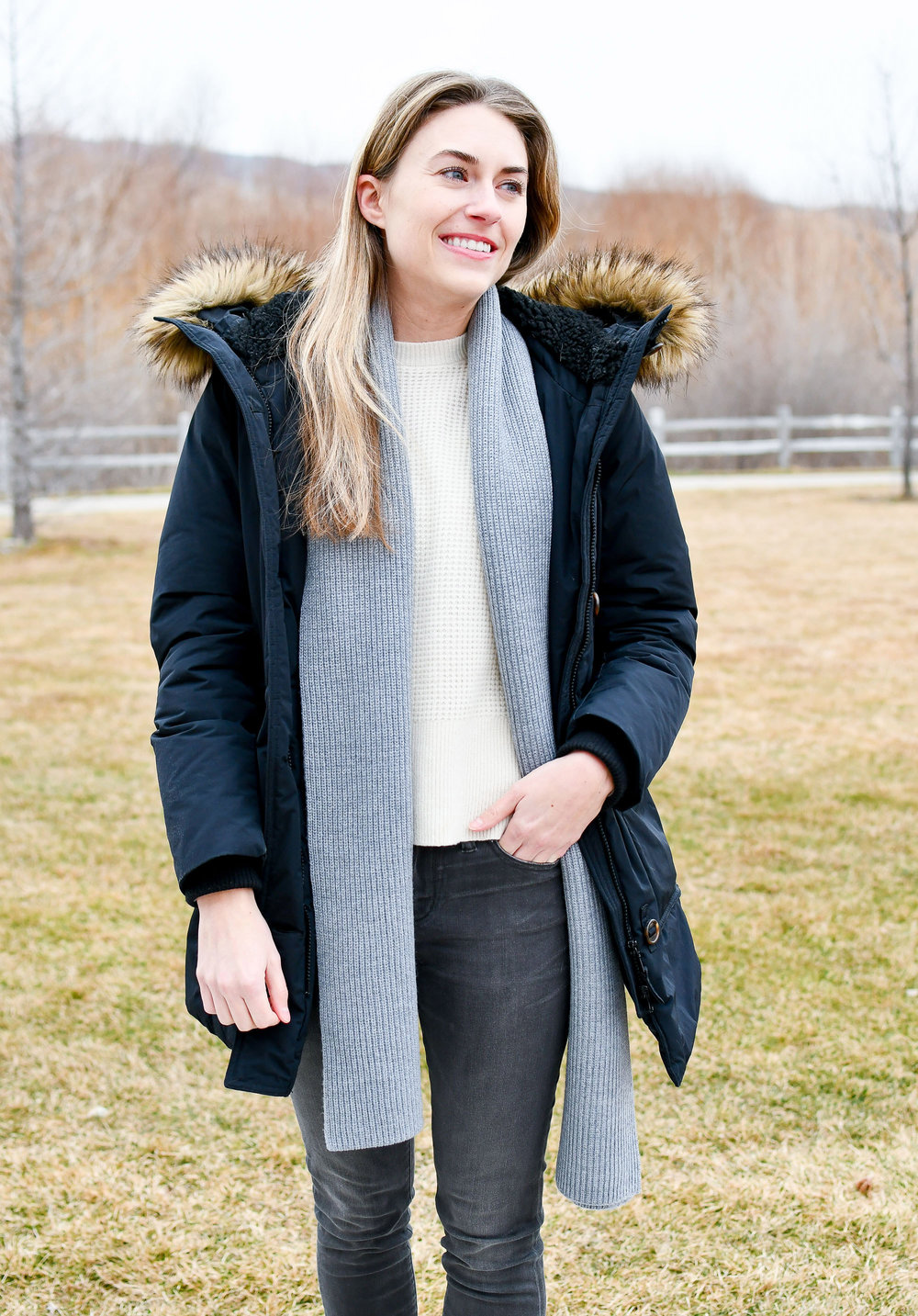Cozy layered winter outfit — Cotton Cashmere Cat Hair