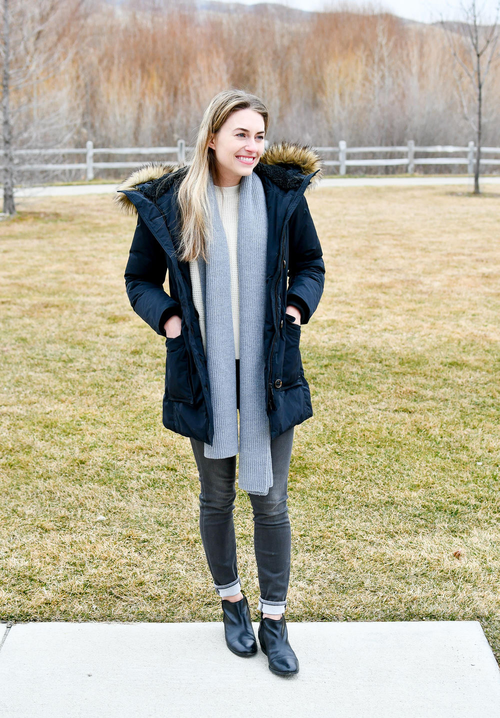 Winter outfit with Sam Edelman Petty ankle boots — Cotton Cashmere Cat Hair