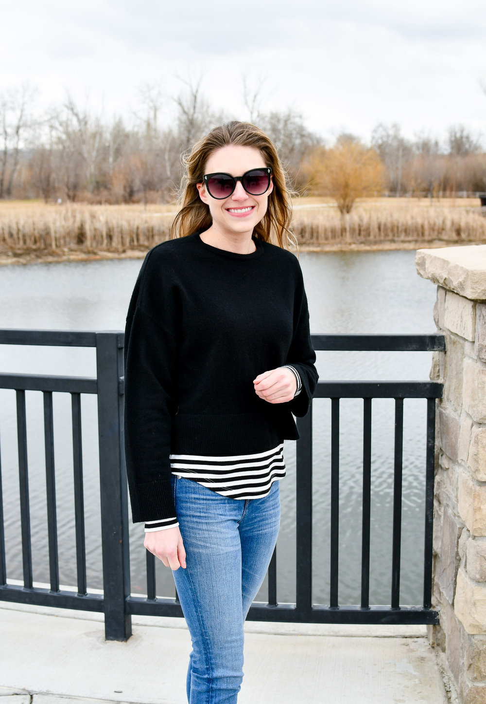 Winter outfit with striped tee and black sweater — Cotton Cashmere Cat Hair