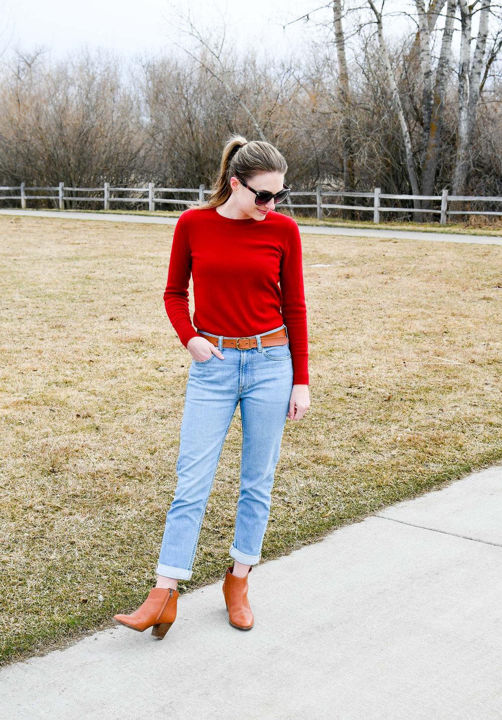 Everlane modern boyfriend jeans in light blue wash — Cotton Cashmere Cat Hair