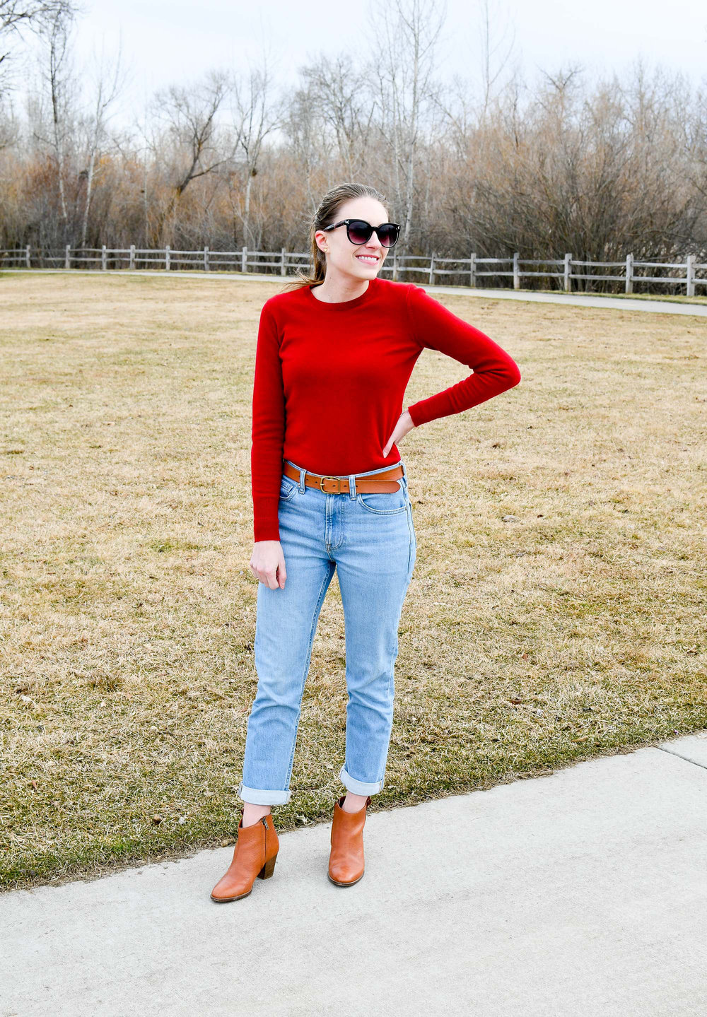 Red sweater and light wash boyfriend jeans — Cotton Cashmere Cat Hair