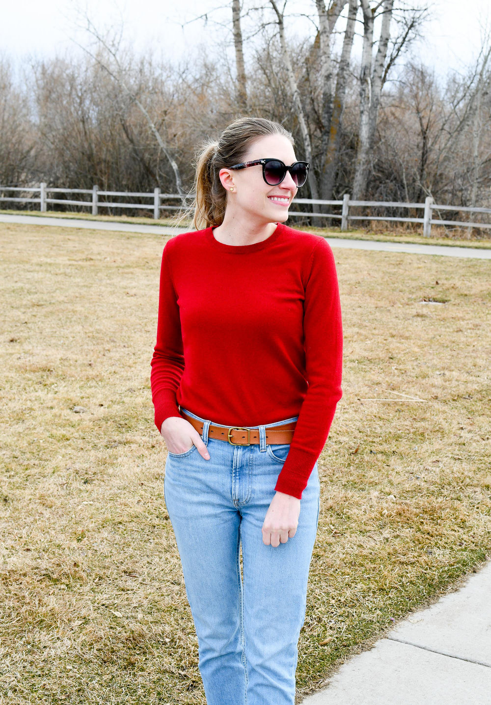 Winter work outfit with red sweater — Cotton Cashmere Cat Hair