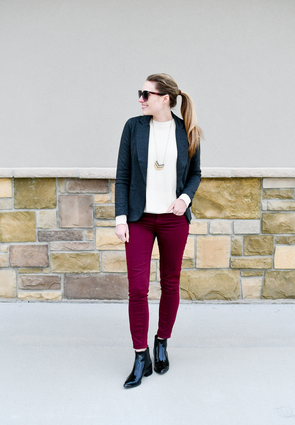 Winter work outfit with burgundy pants — Cotton Cashmere Cat Hair