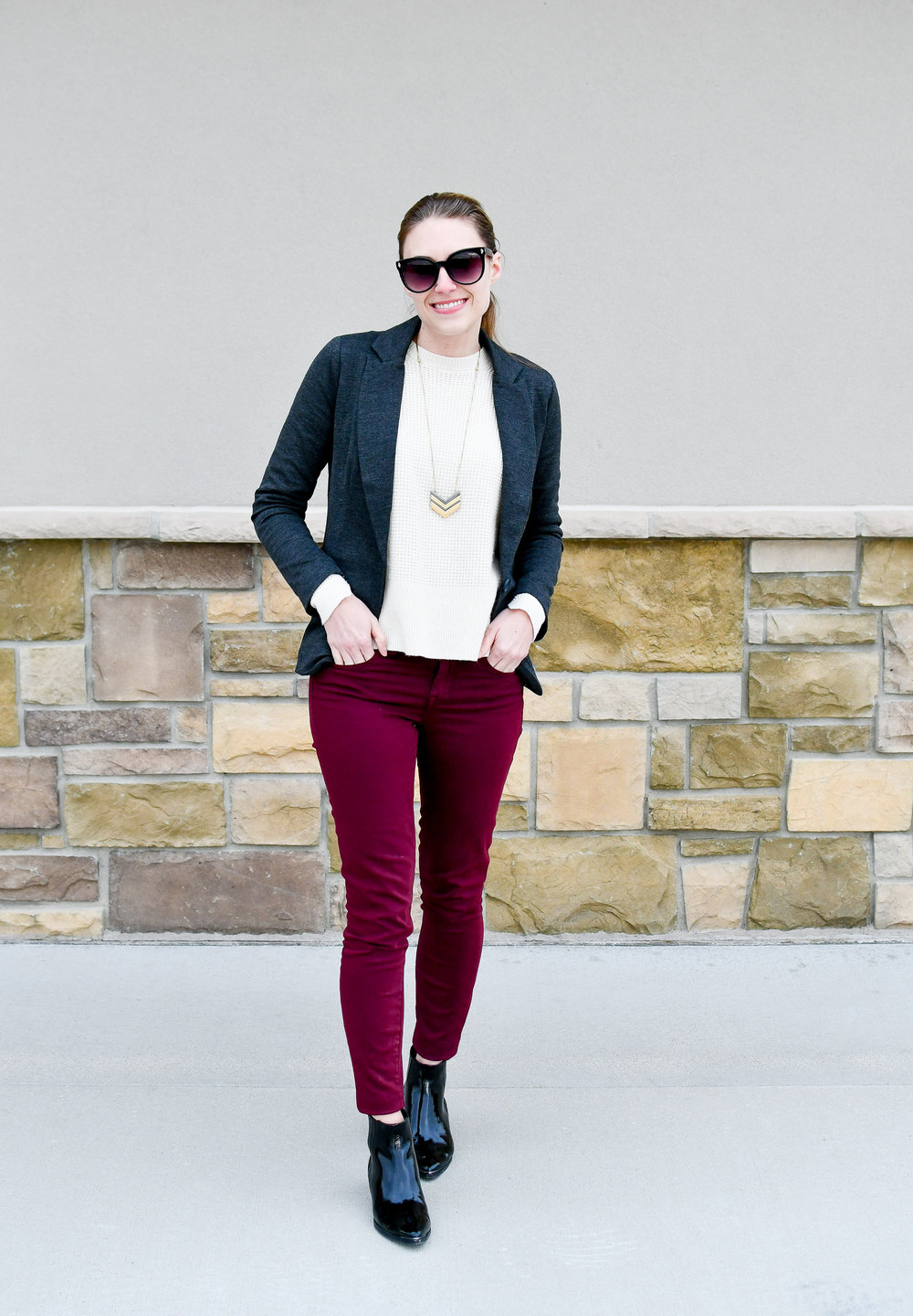 Charcoal grey blazer outfit with burgundy pants — Cotton Cashmere Cat Hair