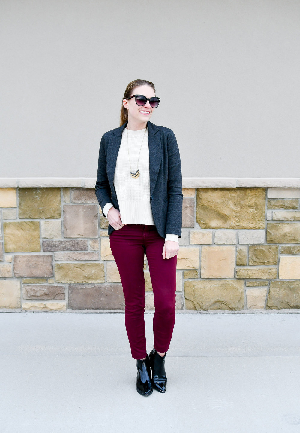Winter work outfit with charcoal grey blazer — Cotton Cashmere Cat Hair