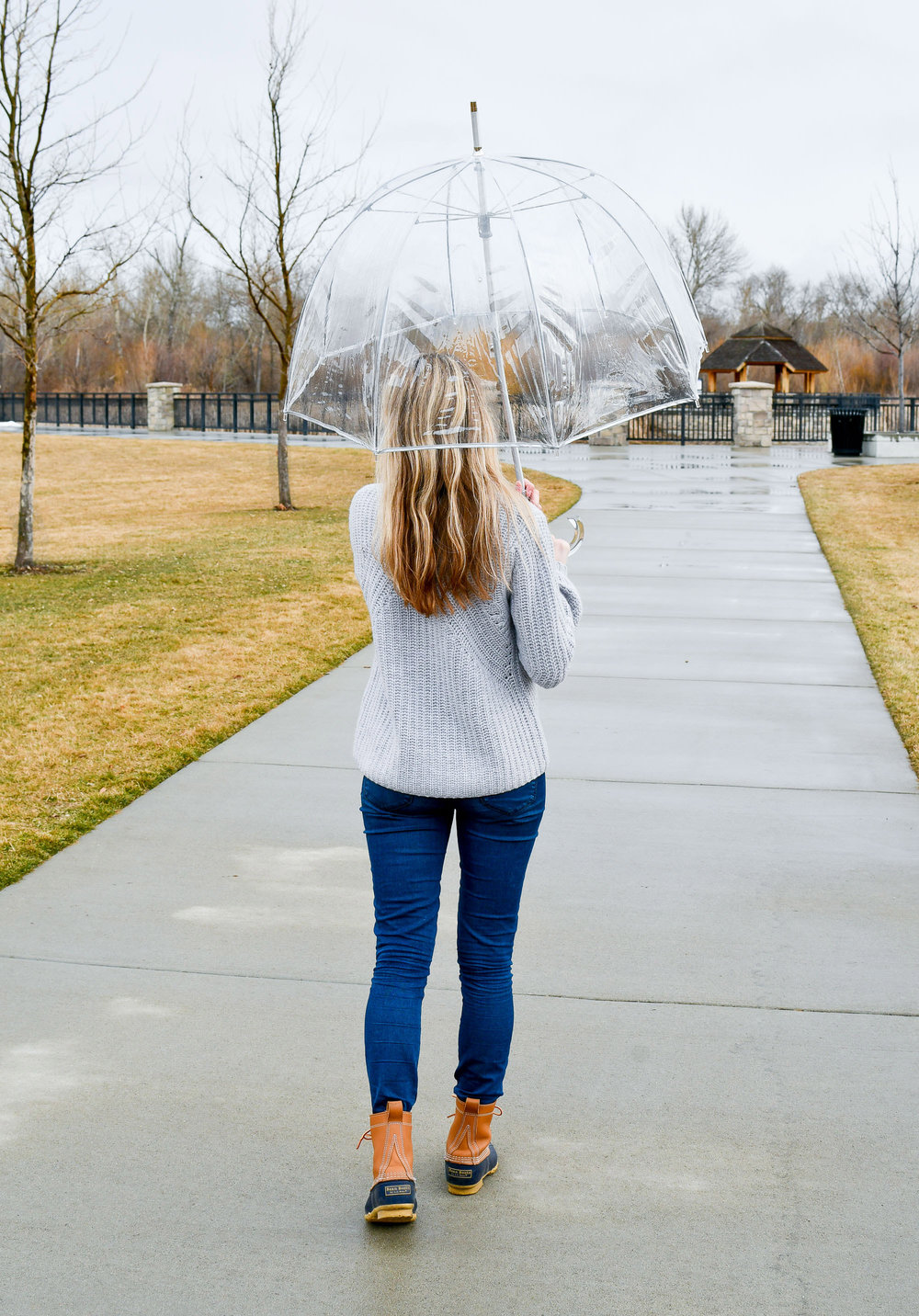 Rainy day outfit with L.L.Bean boots — Cotton Cashmere Cat Hair