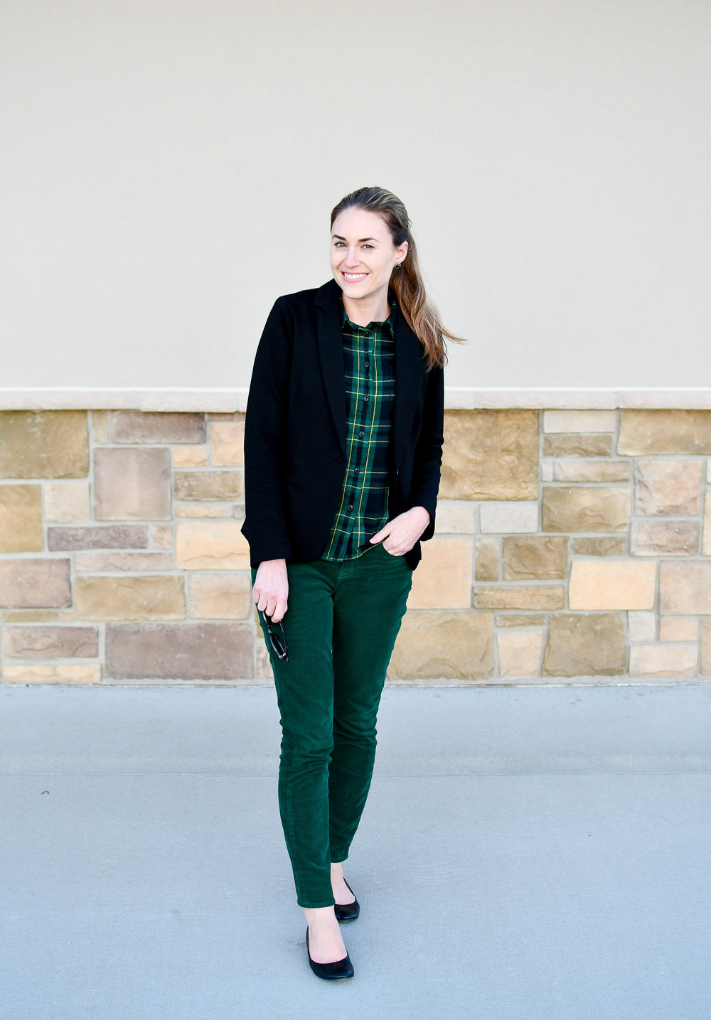 St. Patrick's Day work outfit idea — Cotton Cashmere Cat Hair