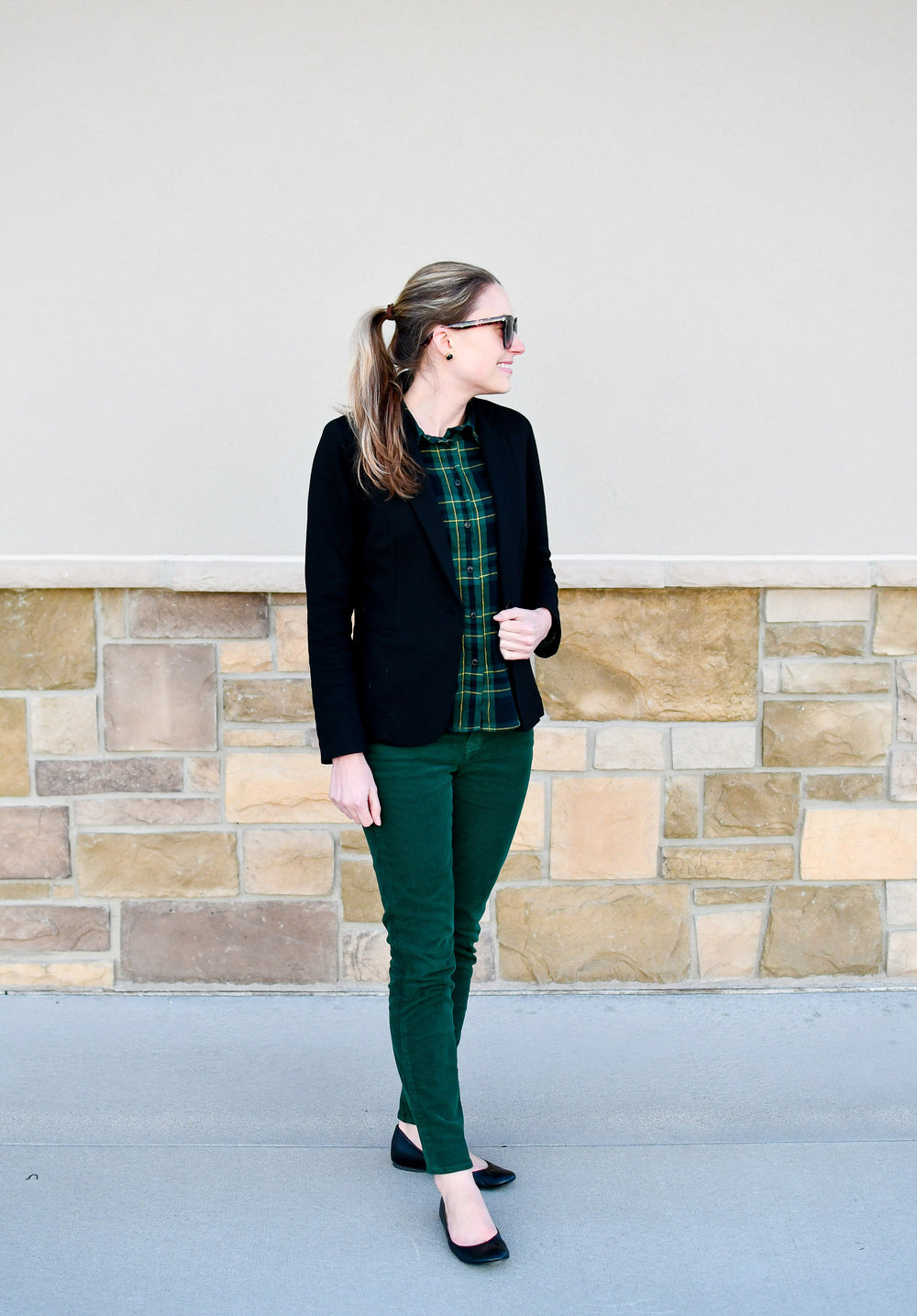 Green corduroy pants winter outfit — Cotton Cashmere Cat Hair