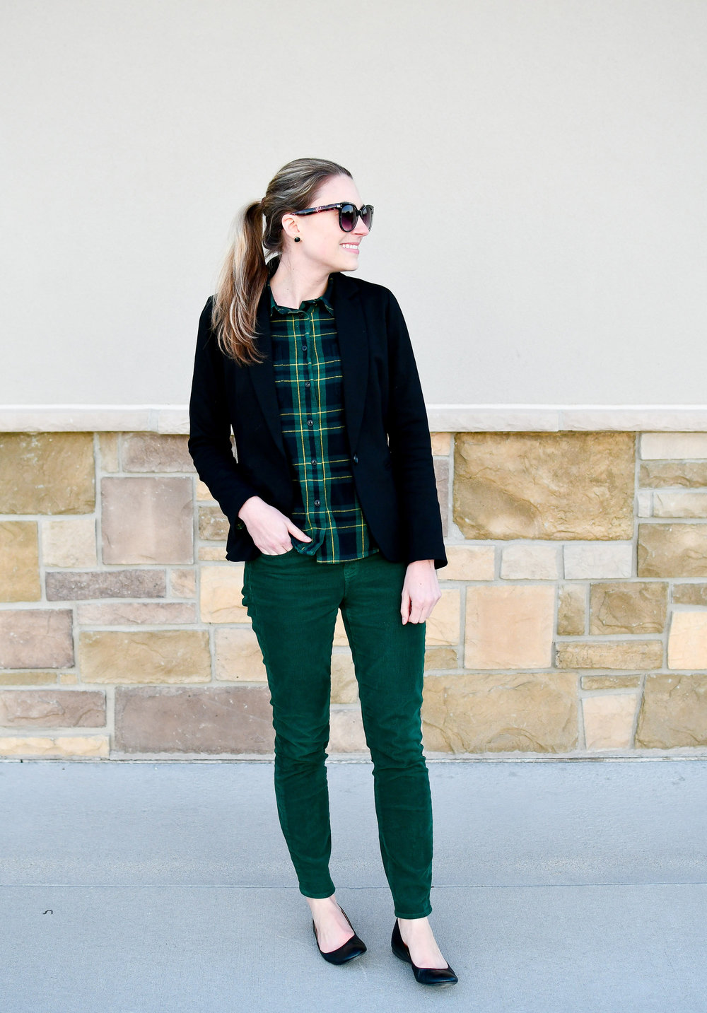 Winter work outfit with black blazer and green corduroy pants — Cotton Cashmere Cat Hair