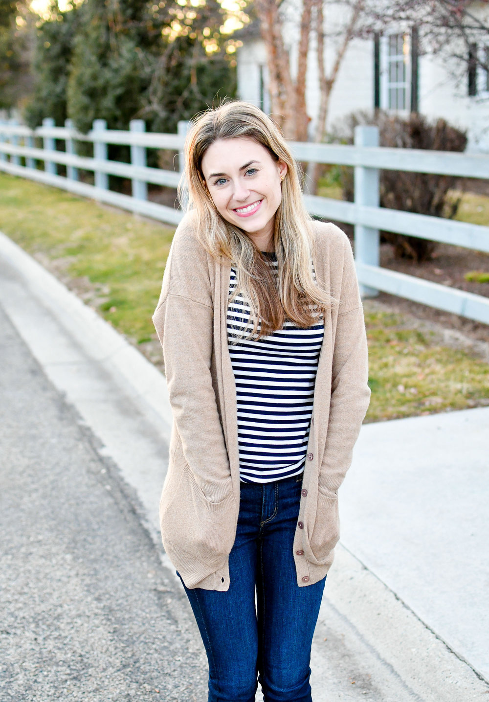 Camel cardigan outfit with navy striped tee — Cotton Cashmere Cat Hair