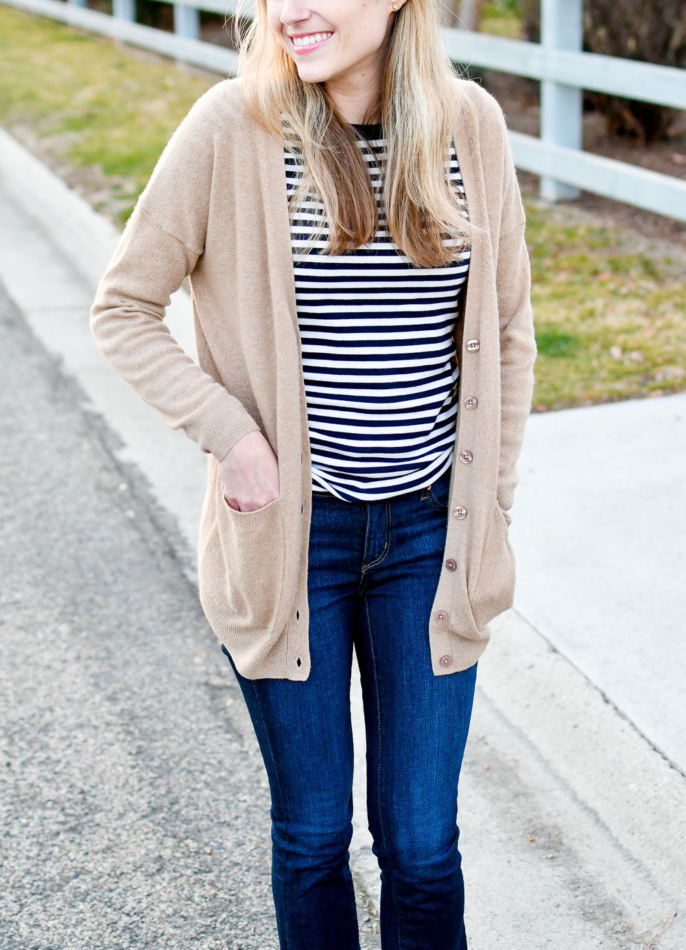 Winter outfit with stripes and denim — Cotton Cashmere Cat Hair