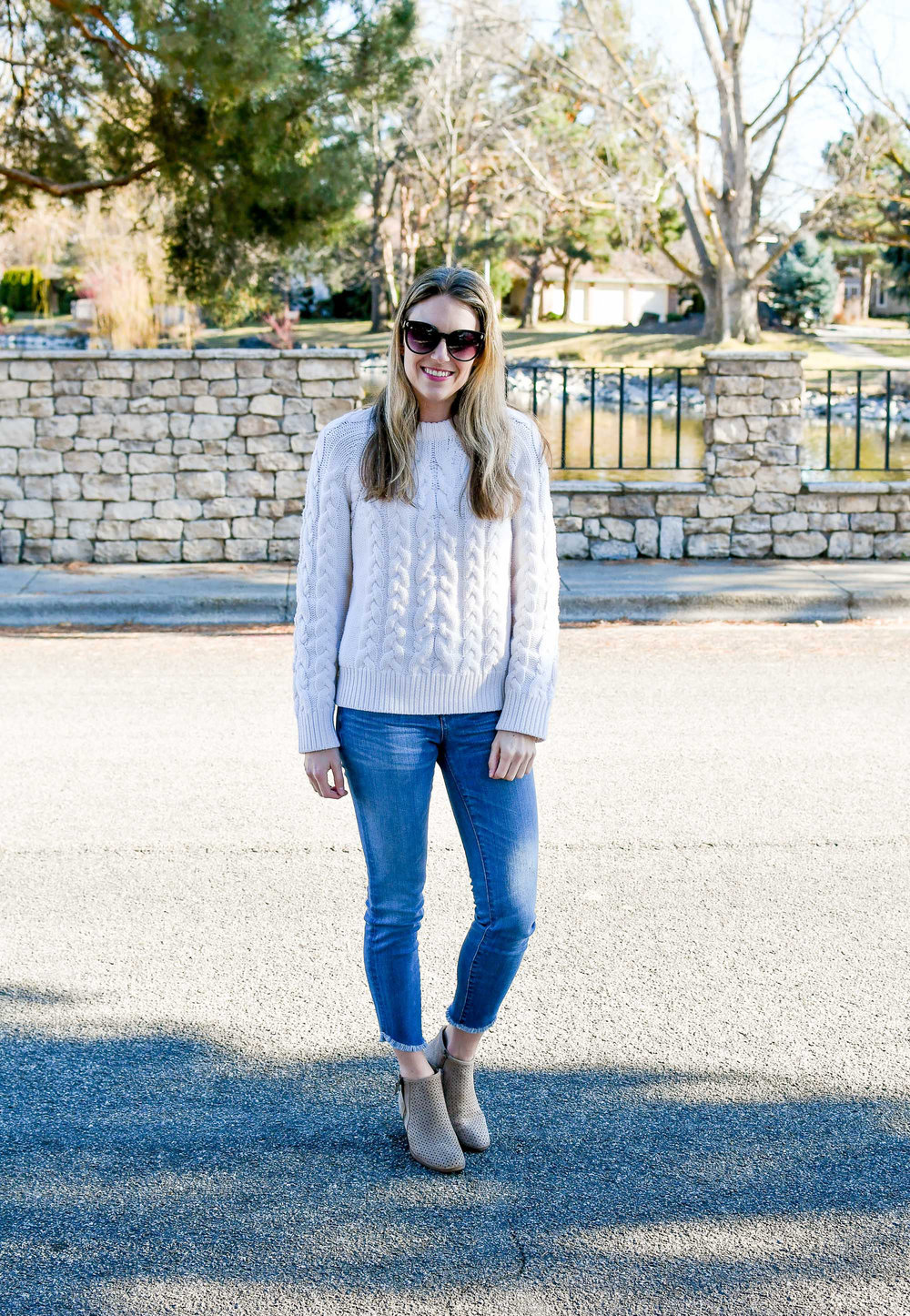 Late winter outfit with cable knit sweater — Cotton Cashmere Cat Hair