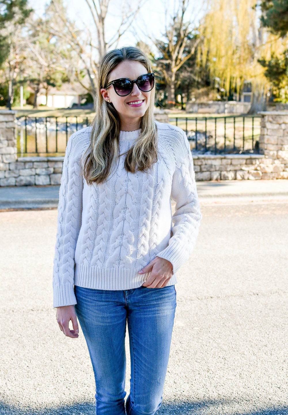 Ivory cable knit sweater outfit — Cotton Cashmere Cat Hair