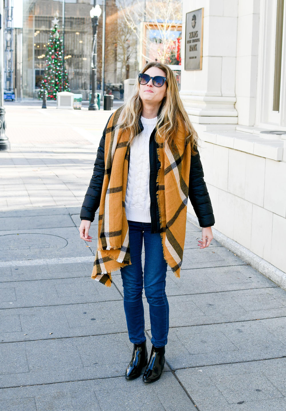 Blanket scarf outfit outtake — Cotton Cashmere Cat Hair