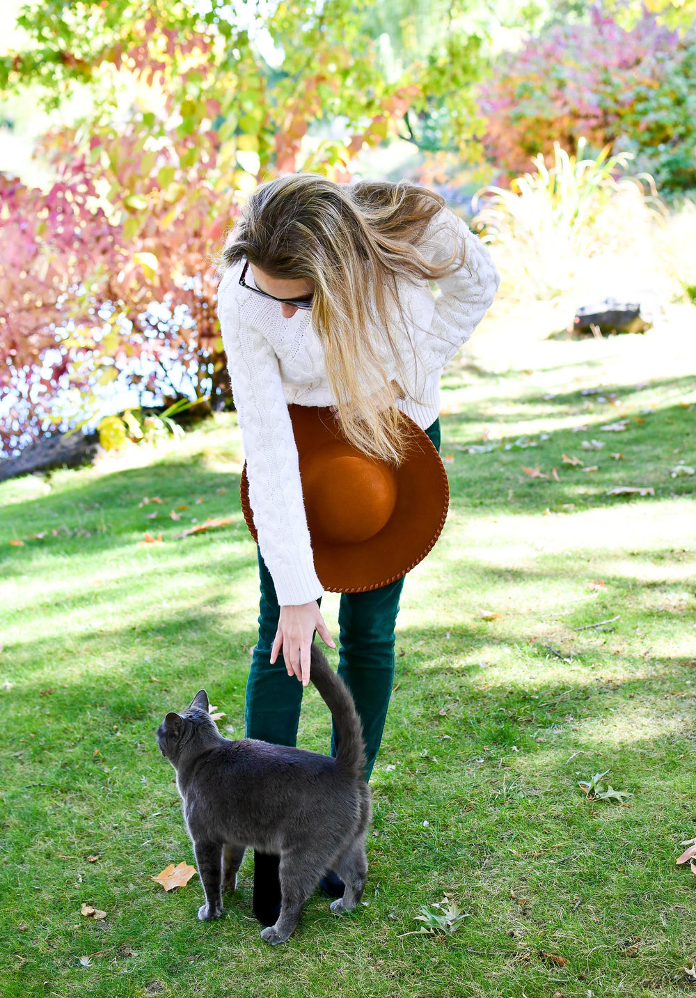 Outfit outtake with kitty friend — Cotton Cashmere Cat Hair