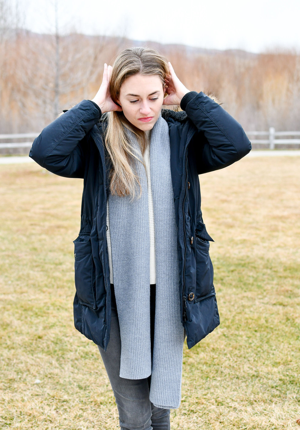 Puffy coat outfit outtake — Cotton Cashmere Cat Hair