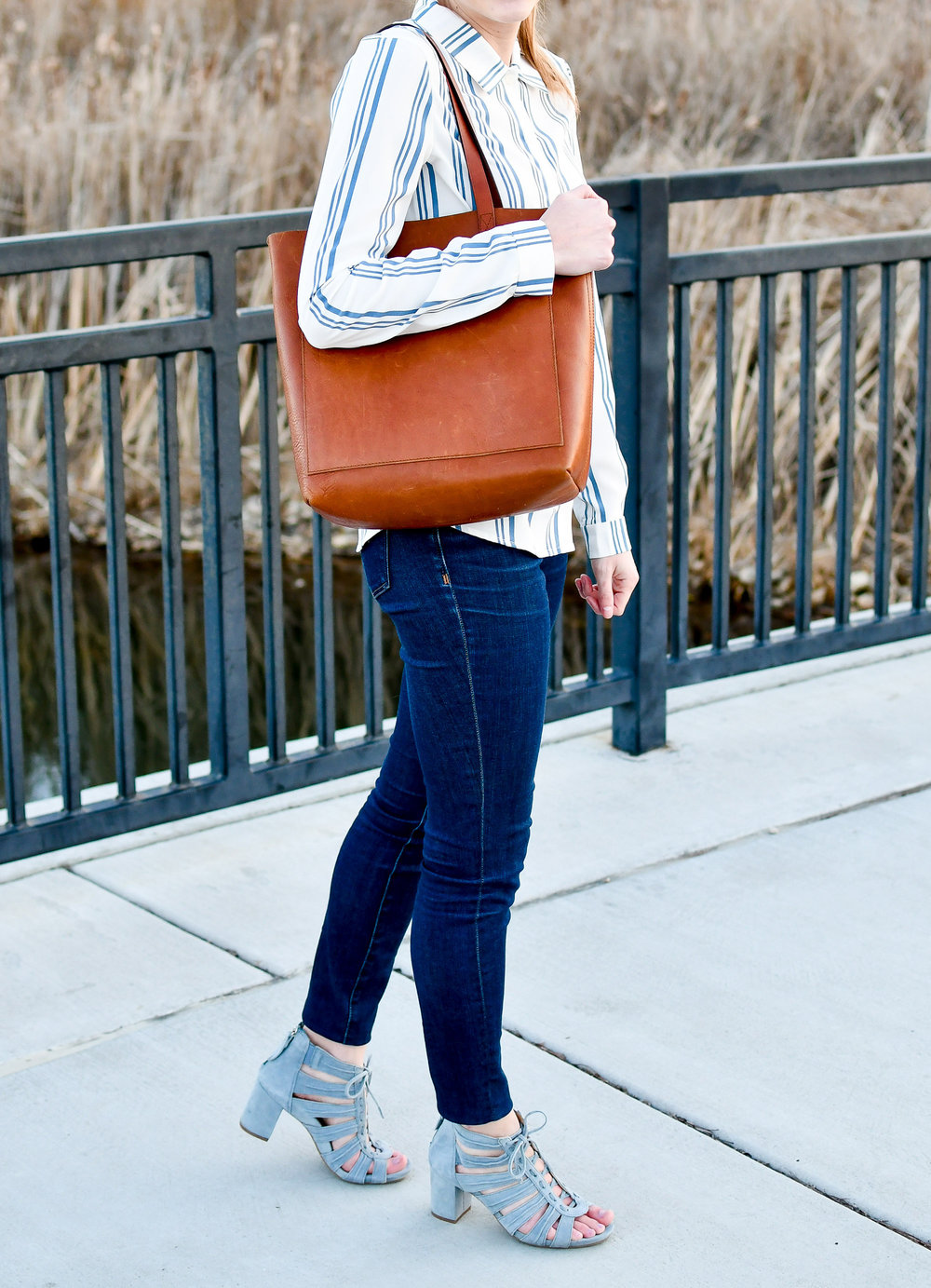 Earthies Saletto caged sandals and Madewell medium Transport tote — Cotton Cashmere Cat Hair