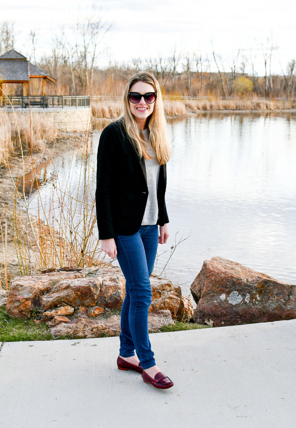 Spring work outfit with black blazer and red loafers — Cotton Cashmere Cat Hair
