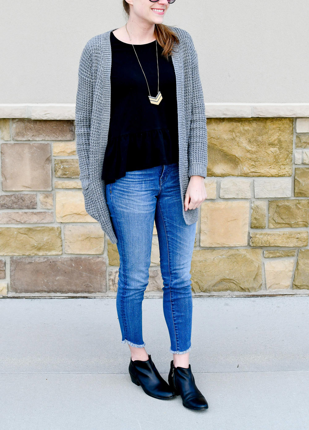 Spring outfit with black peplum blouse — Cotton Cashmere Cat Hair