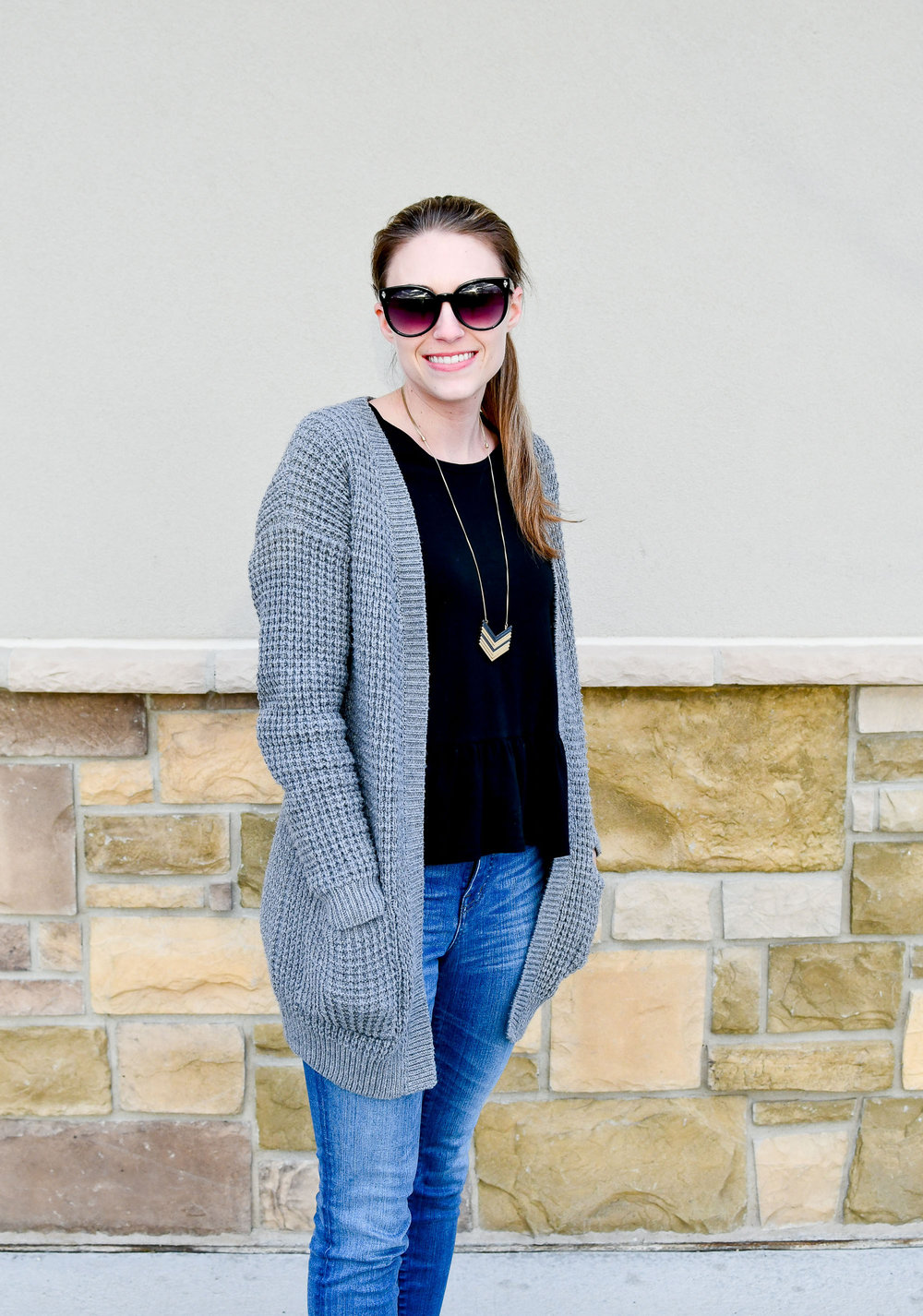 Grey waffle knit cardigan spring outfit — Cotton Cashmere Cat Hair