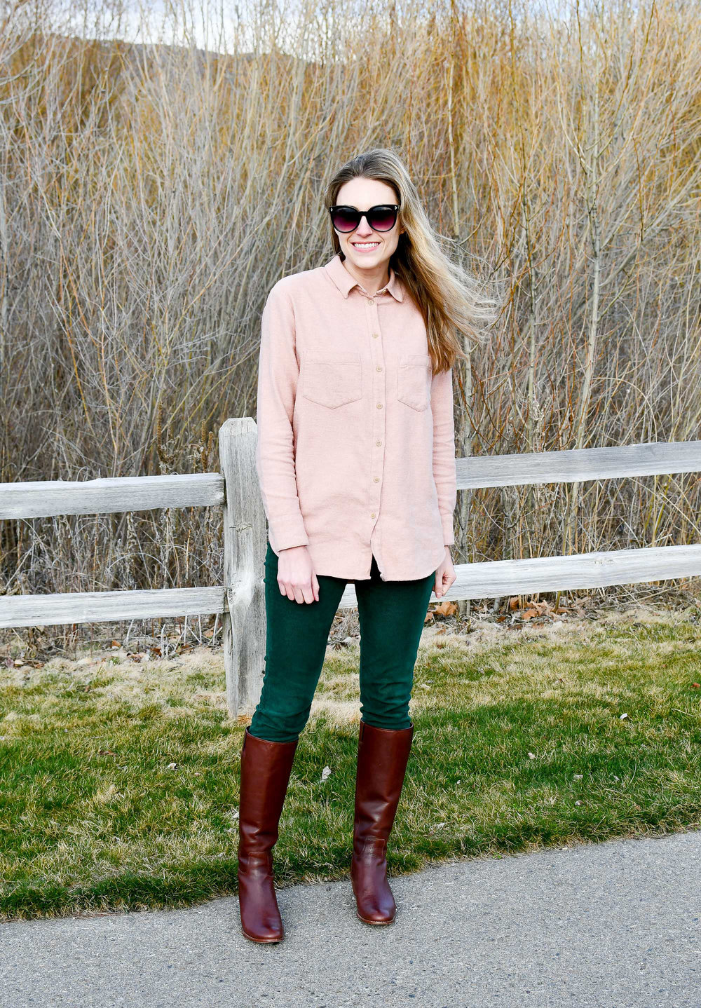 Spring outfit with green corduroy pants and brown tall boots — Cotton Cashmere Cat Hair