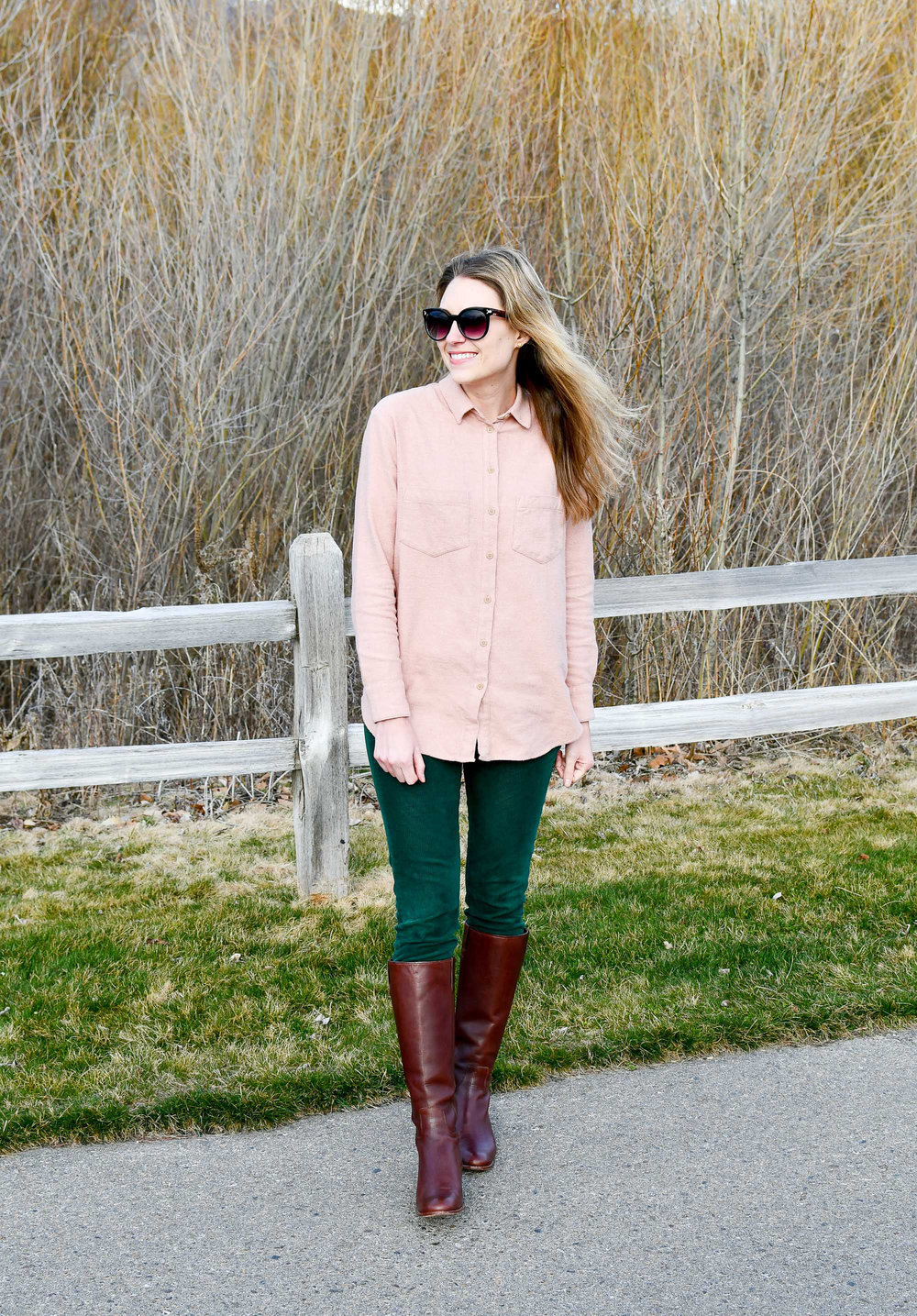 Forest green corduroy pants spring outfit — Cotton Cashmere Cat Hair