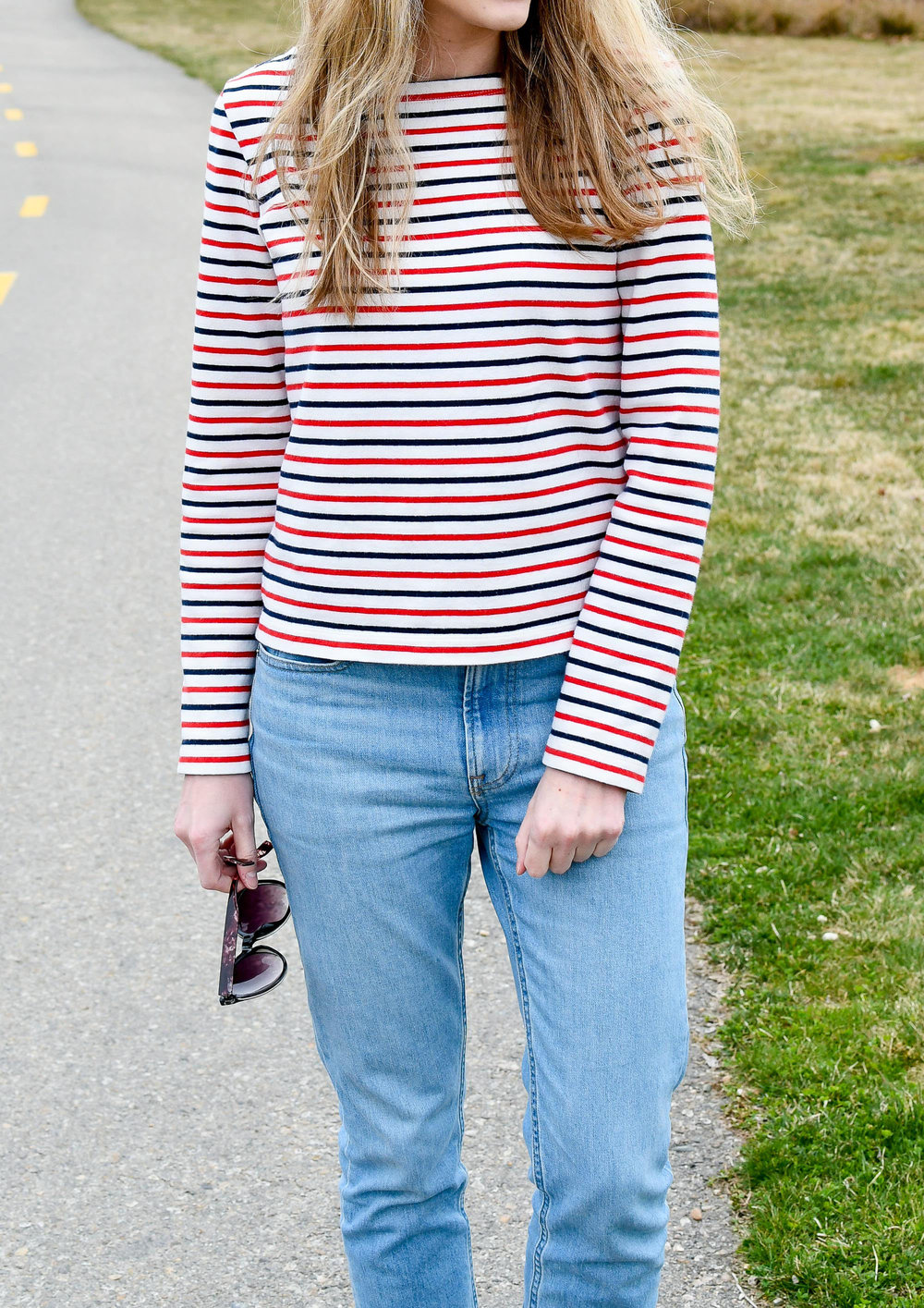 Casual spring outfit striped tee — Cotton Cashmere Cat Hair
