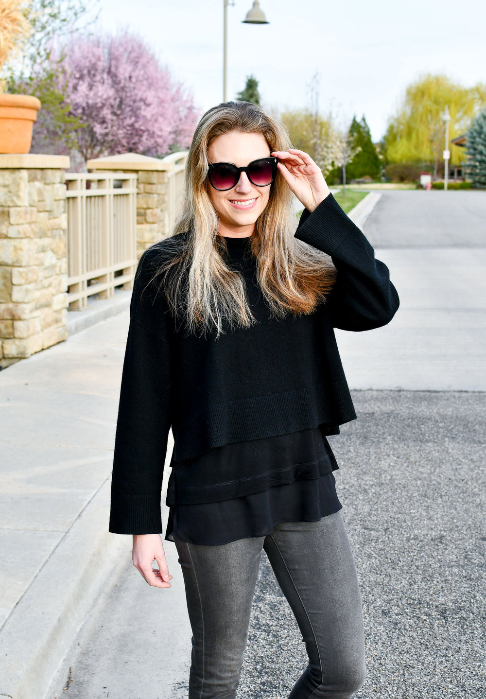 Spring outfit with layered sweater and tank top — Cotton Cashmere Cat Hair