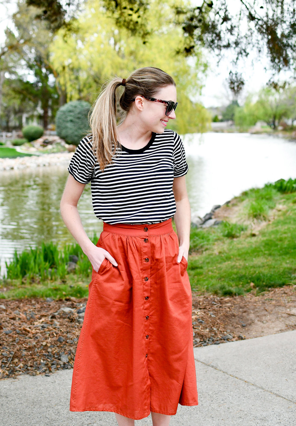 Striped tee rust midi skirt outfit — Cotton Cashmere Cat Hair