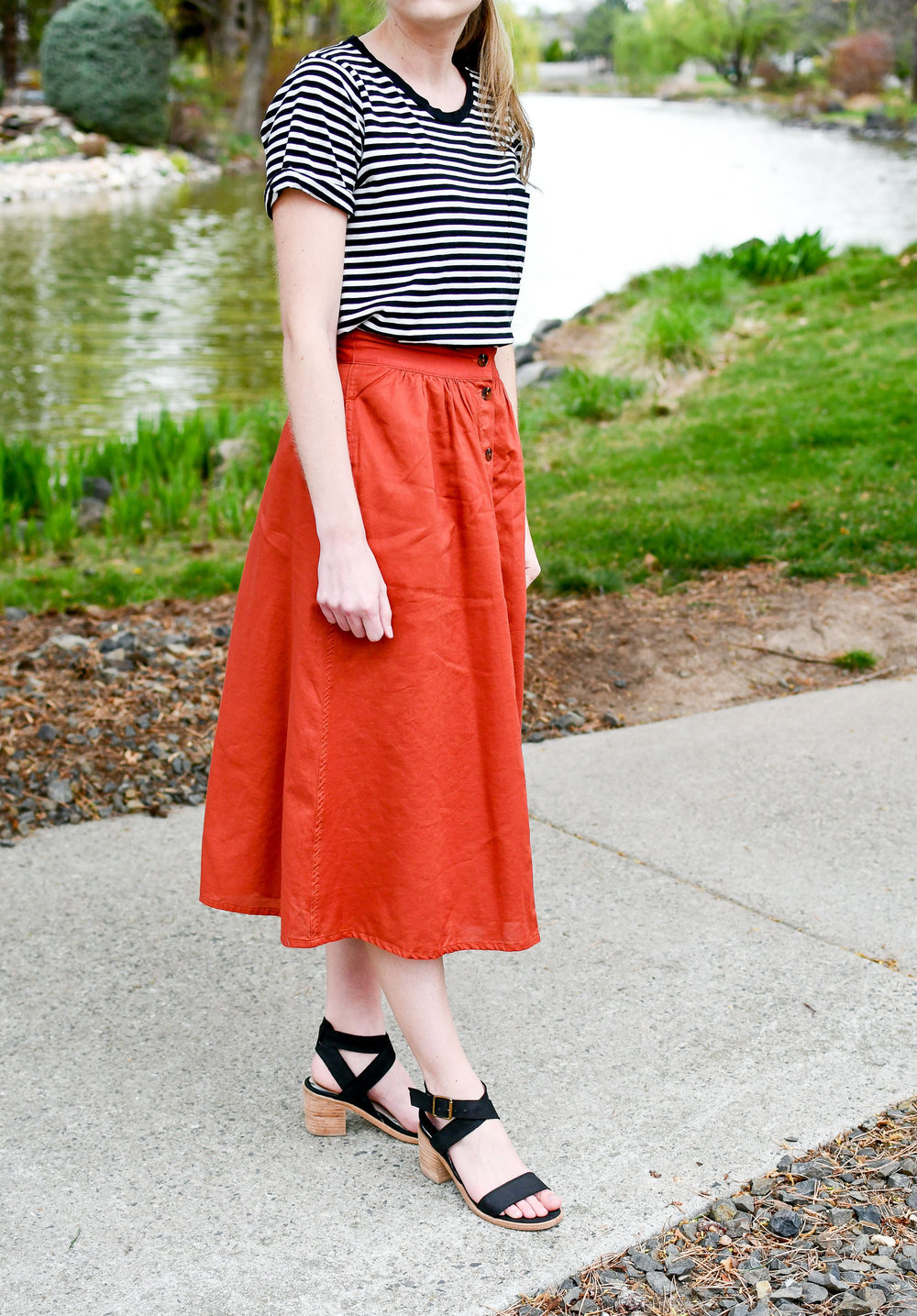 Spring outfit with rust midi skirt — Cotton Cashmere Cat Hair
