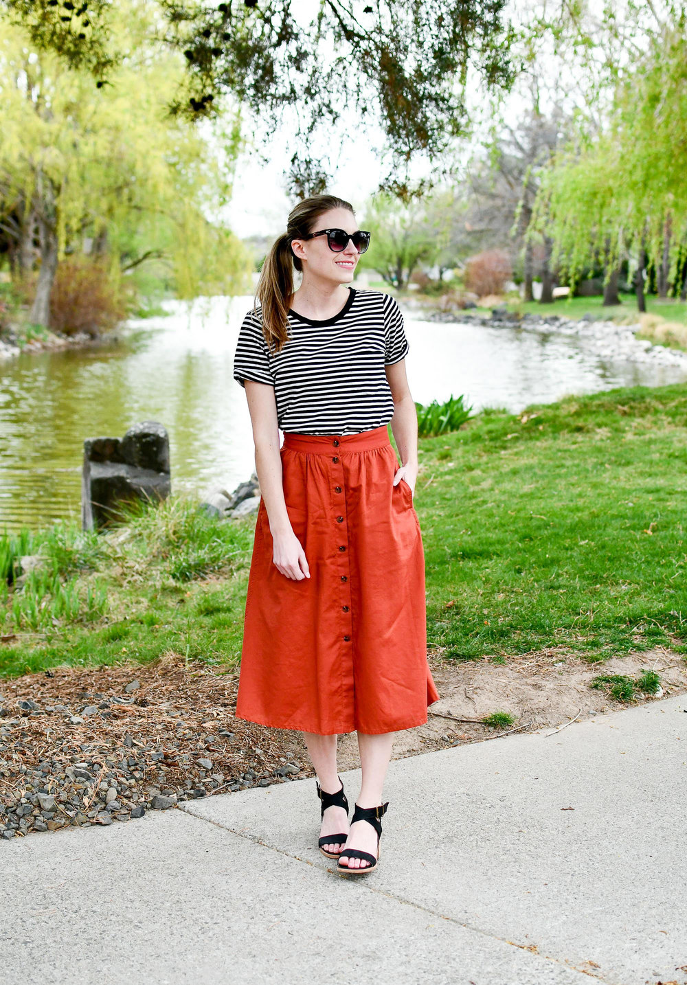 Madewell rust midi skirt spring outfit — Cotton Cashmere Cat Hair
