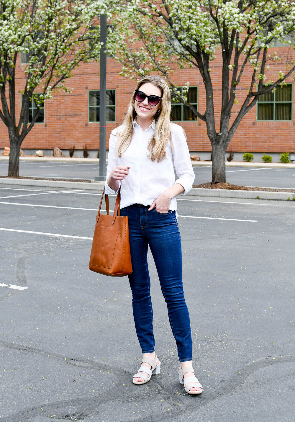 Work outfit with dark high-rise skinny jeans — Cotton Cashmere Cat Hair