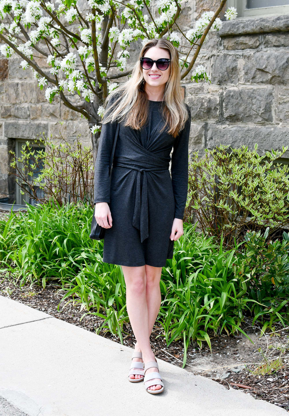 Spring outfit with Amour Vert dress and Earth sandals — Cotton Cashmere Cat Hair