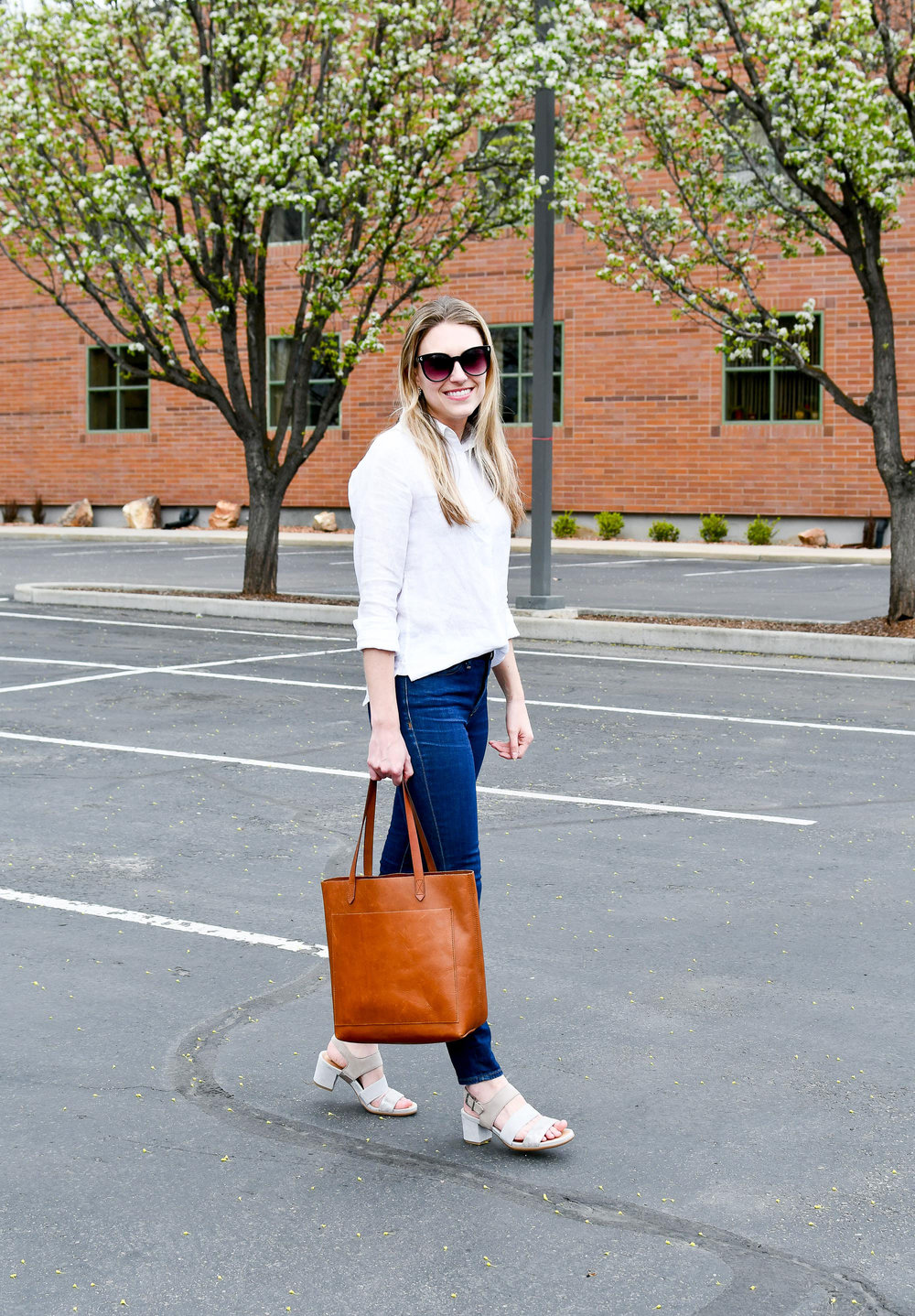 White linen shirt, Madewell Transport tote, Earth Tierra sandals — Cotton Cashmere Cat Hair