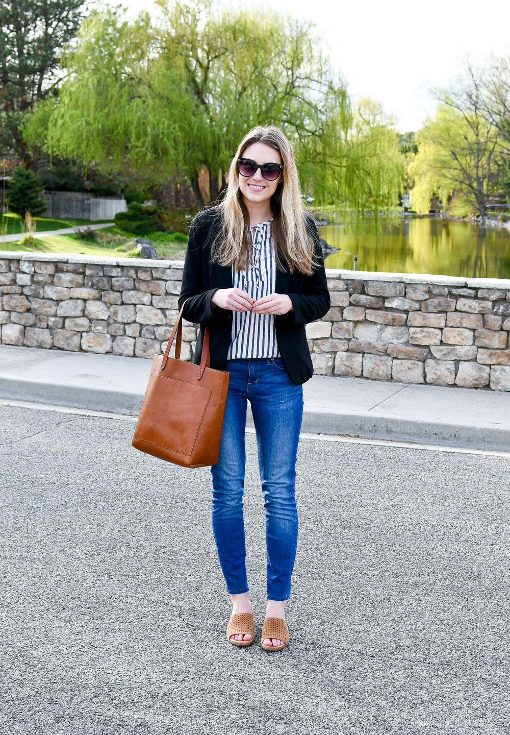 Black blazer spring work outfit — Cotton Cashmere Cat Hair