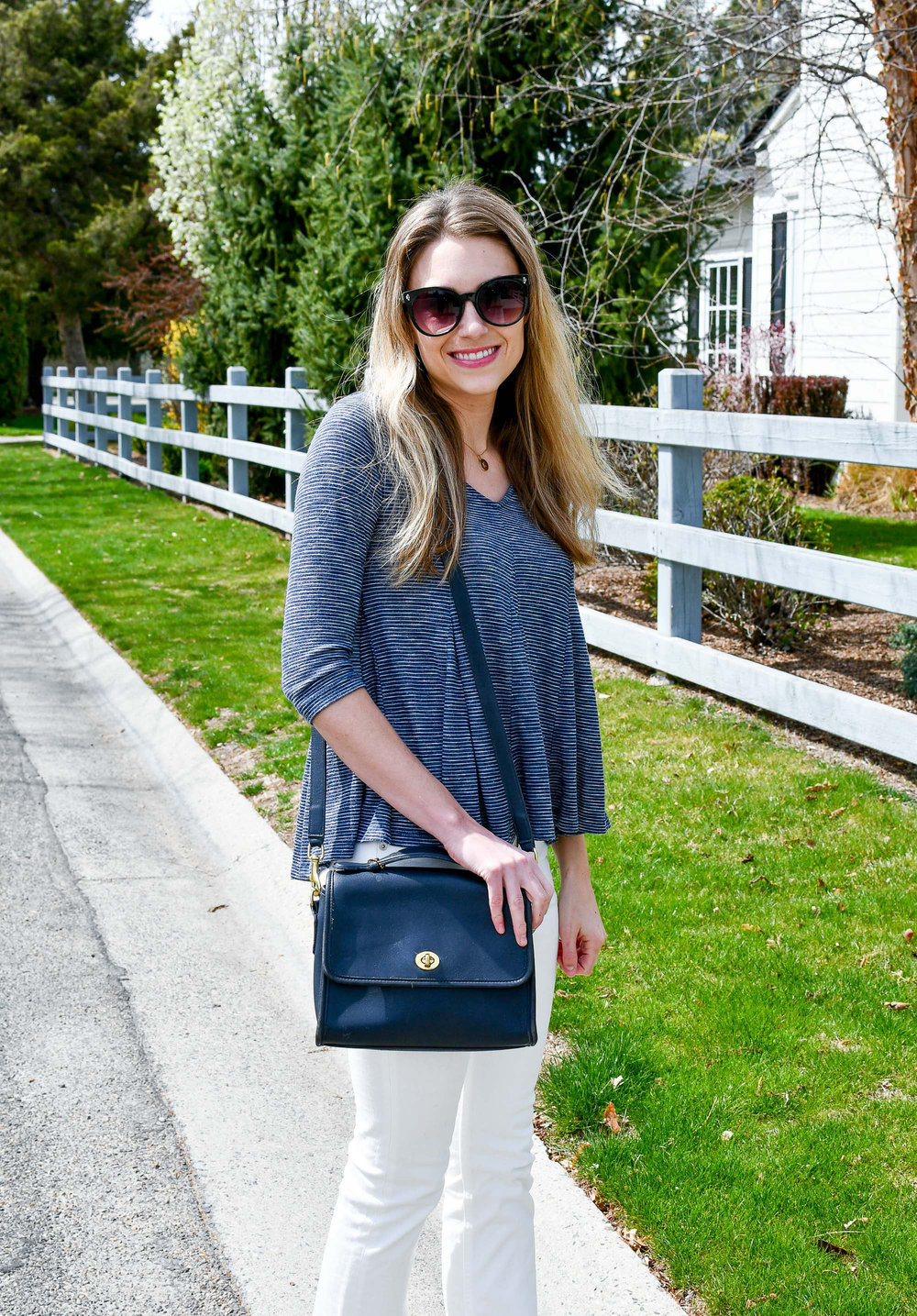 Spring outfit with vintage Coach Court bag — Cotton Cashmere Cat Hair