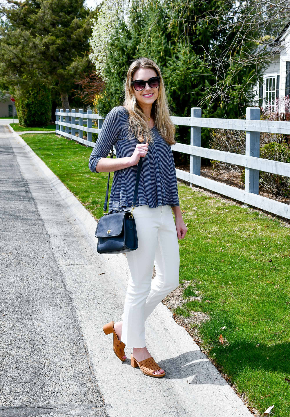 Spring outfit with Earth Ibiza slide sandals — Cotton Cashmere Cat Hair