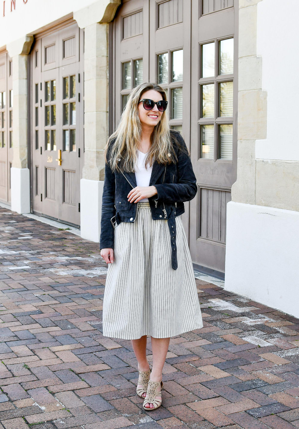 Spring outfit with suede moto jacket and midi skirt — Cotton Cashmere Cat Hair