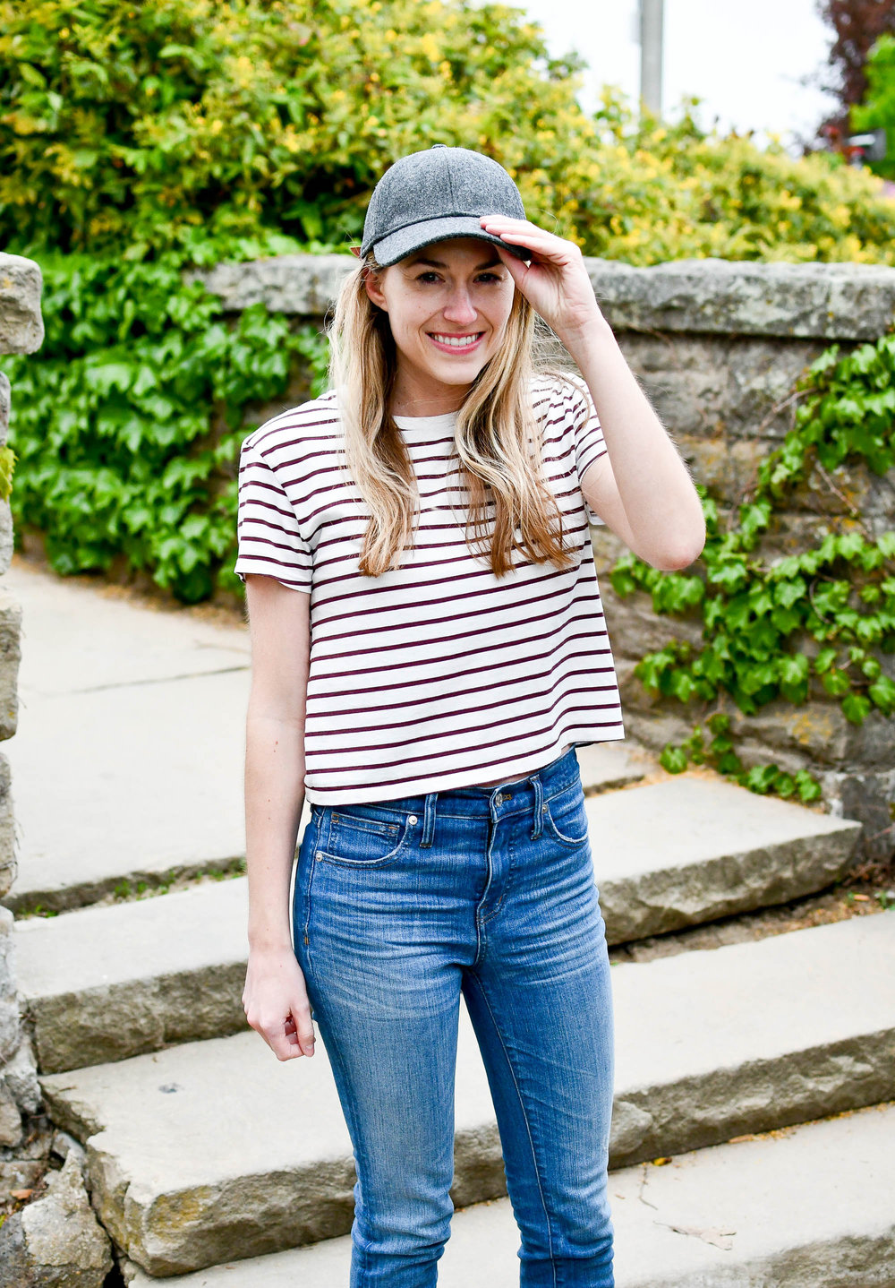 Spring outfit with baseball cap — Cotton Cashmere Cat Hair