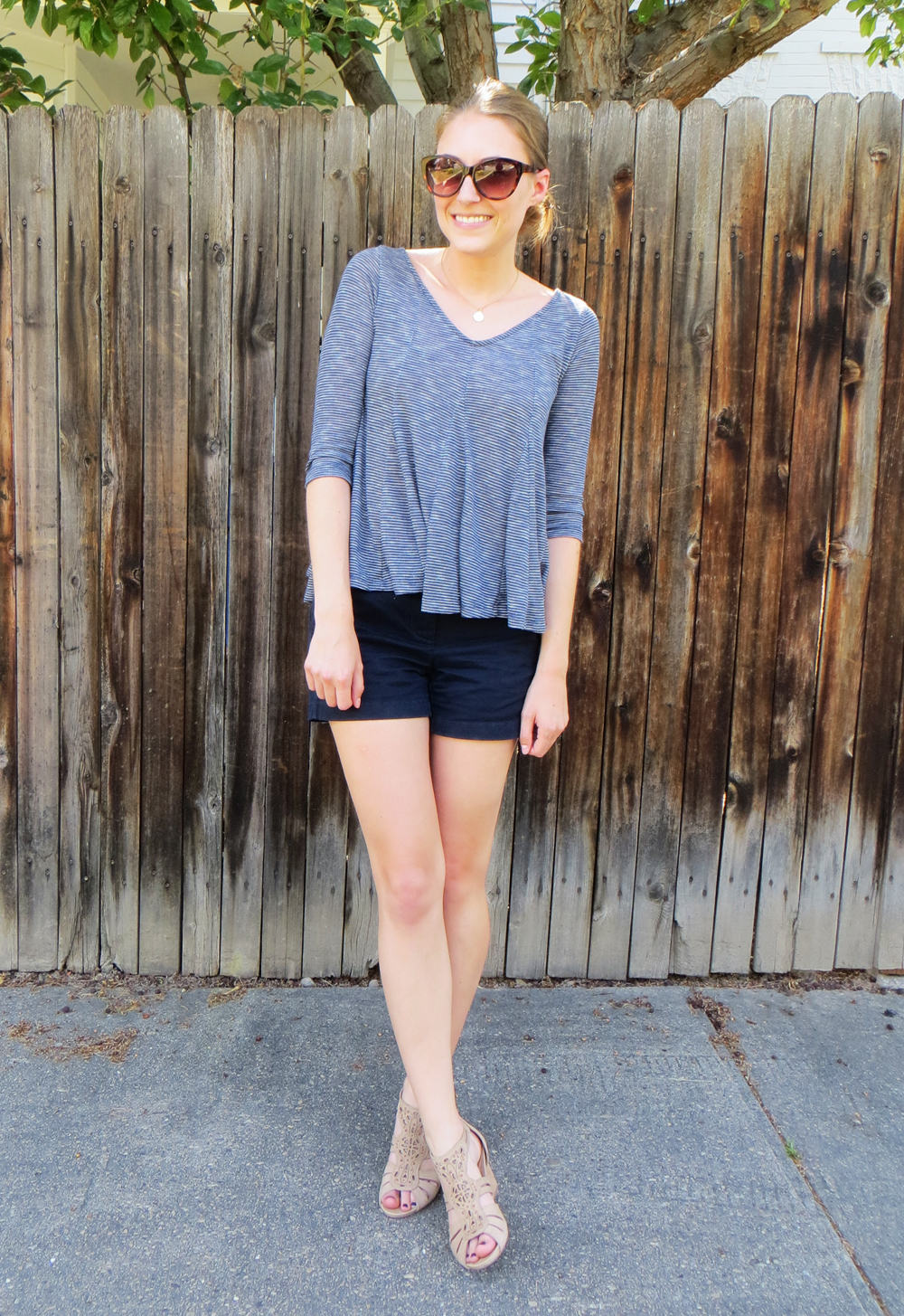 Summer in navy with Earthies Morolo sandals — Cotton Cashmere Cat Hair