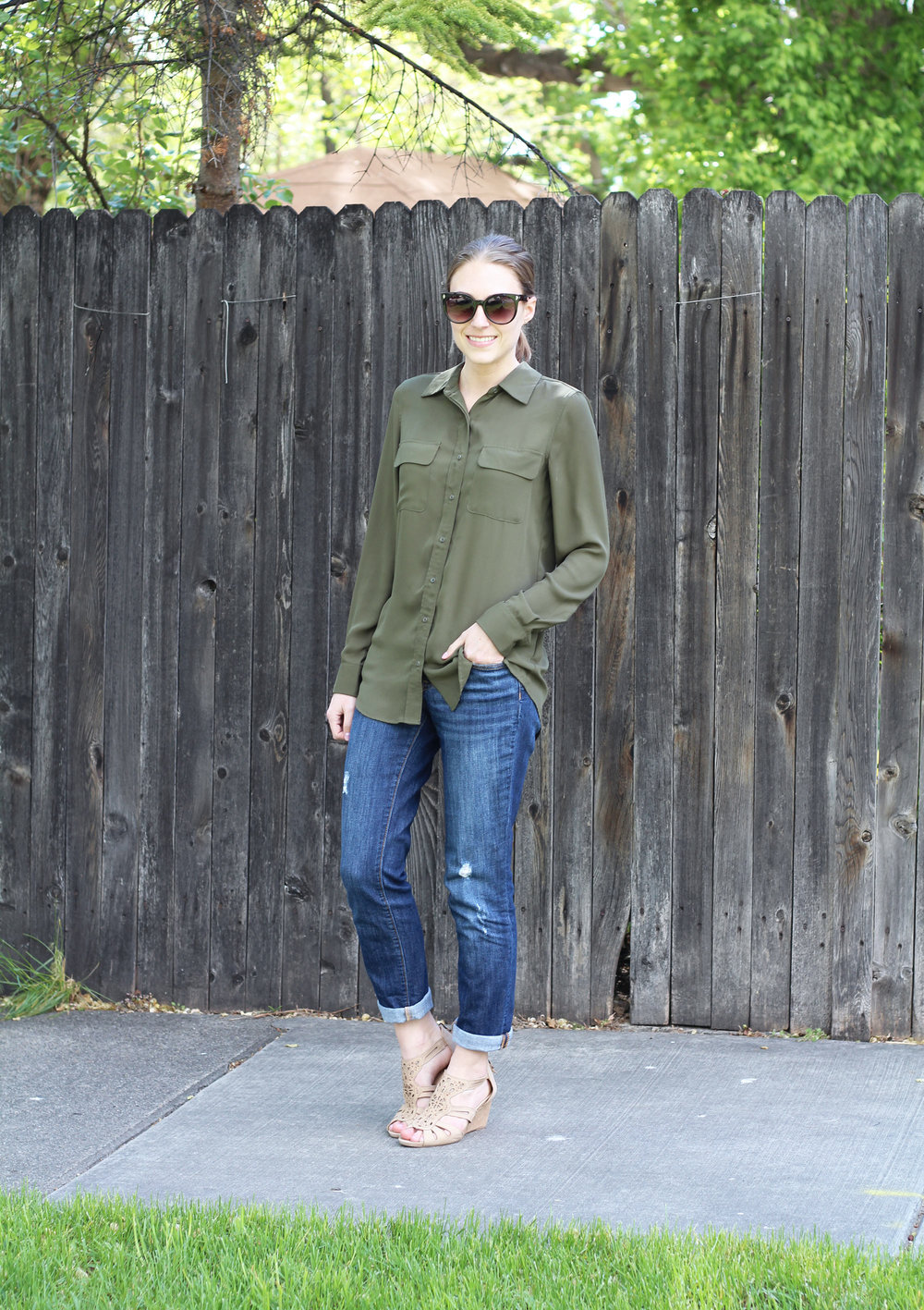 Olive + denim with Earthies Morolo sandals — Cotton Cashmere Cat Hair