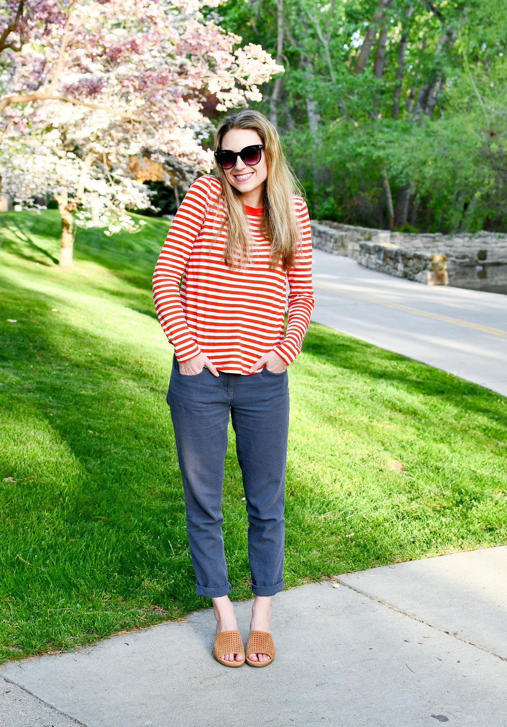 Red striped tee outfit with cotton-linen pants — Cotton Cashmere Cat Hair