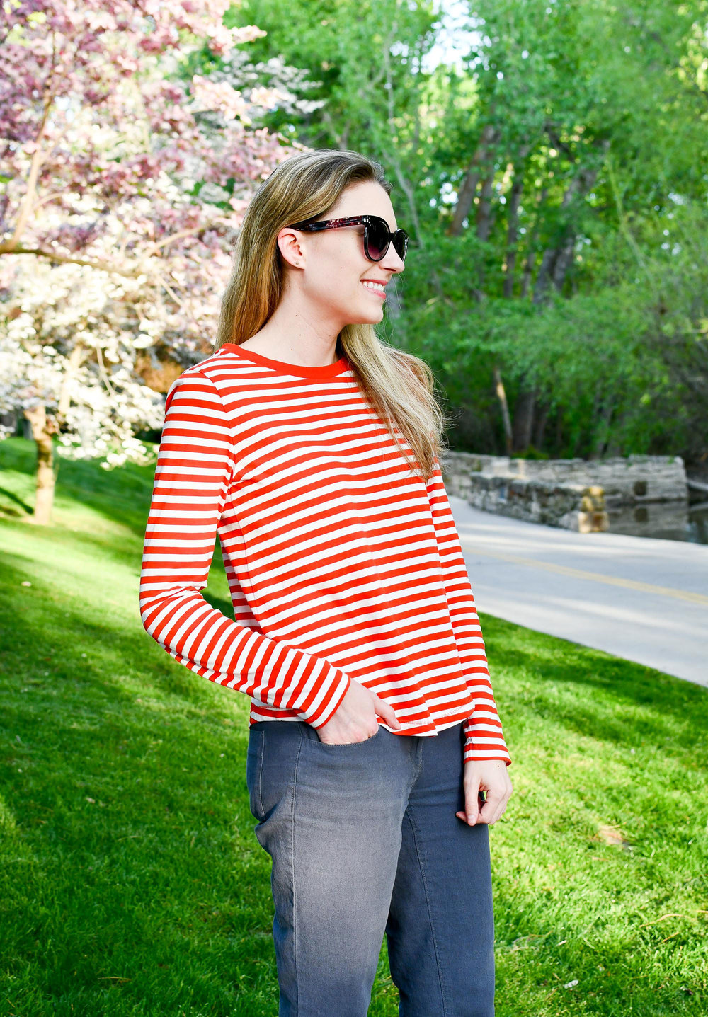 Red striped tee spring outfit — Cotton Cashmere Cat Hair