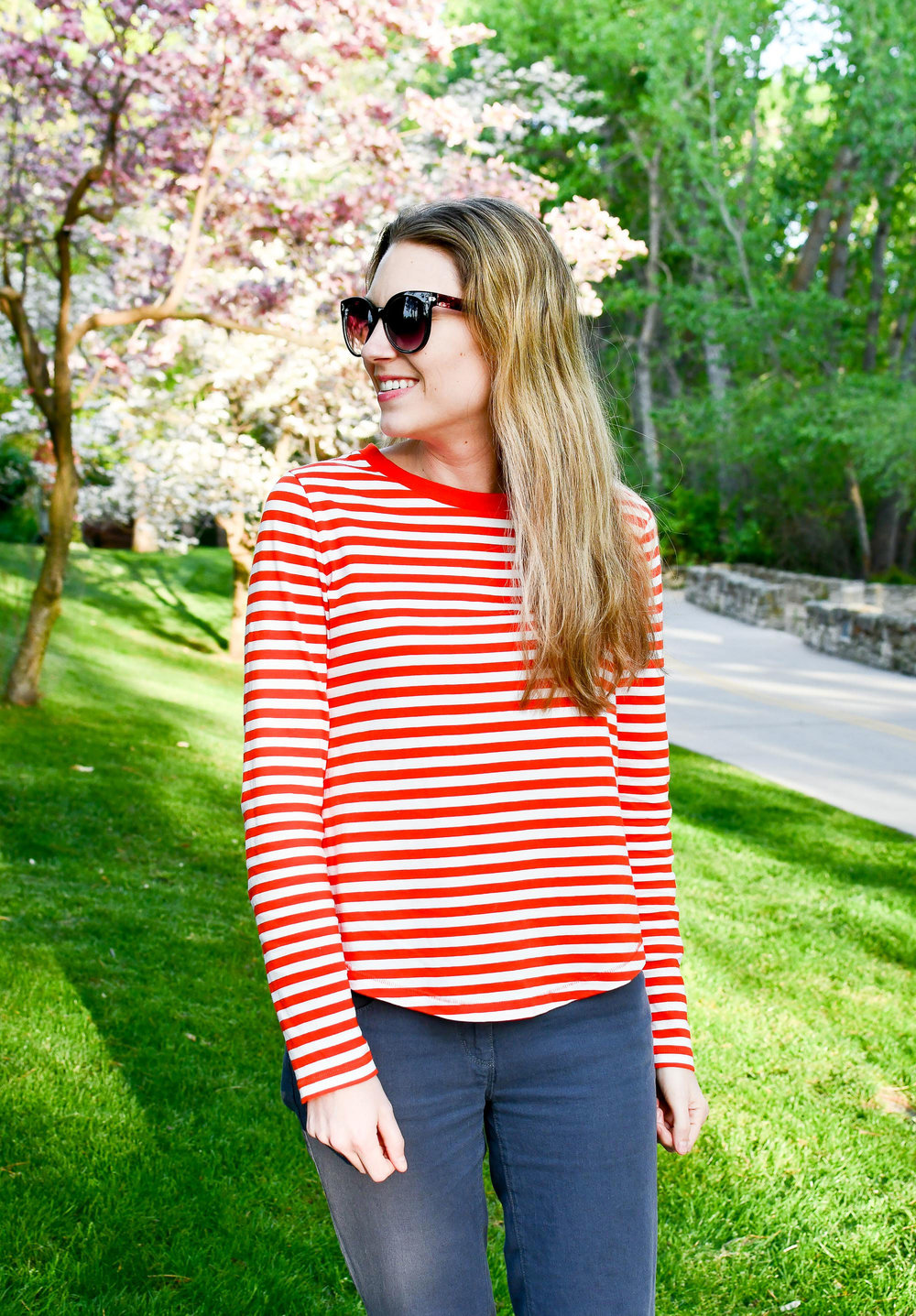 COS red striped tee spring outfit — Cotton Cashmere Cat Hair