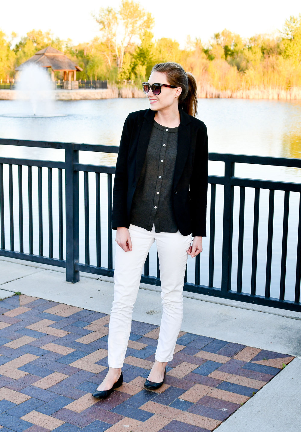White jeans spring outfit with black blazer — Cotton Cashmere Cat Hair